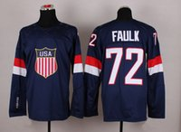 Wholesale 2014 Sochi Olympic Team USA Hockey Jersey Justin Faulk Navy Blue Ice Hockey Jerseys