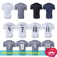 sports jersey - Thai Quality Cristiano Ronaldo Jersey Sports shirt maillot de foot James Rodriguez Benzema Soccer Jerseys with Champions patch XL