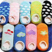 fleece socks - Freeshipping Fashion thickening cartoon coral fleece female socks slip resistant socks floor sock slippers towel socks