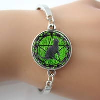 backgrounds tile - Black Cat Bracelet Wicca Pentagram Bangle Green Grass Background Glass Tile Jewelry Cuff Bangle For Best Friends