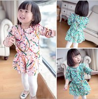 dress material - 2015 Kid New Collection Dress Long Sleeve Dress Color Good Material Dress Girl Lovely Dress Printing Dress U1