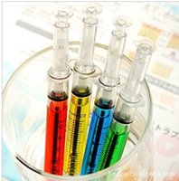 ball point pins - New Creative Korean Style Syringe pin tube Ball point pens promotion Gift pen Can Print LOGO MOQ