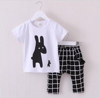 no brand clothing - 2016 New Summer Boys Clothes Rabbit Children Clothes for Boys Toddler Baby Boys Clothing Set Short Sleeve T Shirts Plaid Pant hight quality