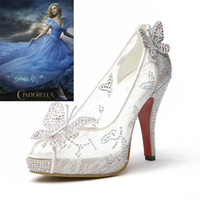 crystal pumps - Cinderella High Heels Crystal Blingbling SequinsHotLace Wedding Shoes Thin Heel Rhinestone Platform Butterfly Prom Party Crystal Shoes
