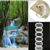 Wholesale 180 cm Inch Waterproof Shower Curtain Nature Scenery Waterfalls Fabric Shower Curtain Bathroom Decor