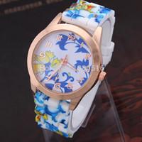 Wholesale 2014 Retro Chic Flower Daisies Watch Floral Silicone Women Watch Ladies Girls Quartz Clock Dress Watches B003 SV005246