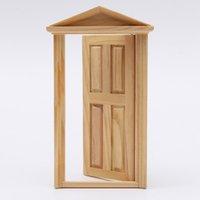 Wholesale Excellent Workmanship Dollhouse DIY Mini Miniature Panel Wooden Exterior Door Steeple Top Design child kid education gift