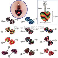 Wholesale Chic Multicolor Acrylic Heart Belly Ring Navel Cherry Leopard Skull Print Body Jewelry Piercings Free Ship