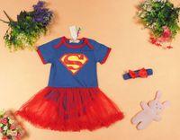 Wholesale girls superman dress onesie romper supergirl dress baby rompers dress girls baby girls infant tutu dresses in stock