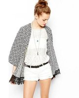 Wholesale New Fashion Vintage Women outerwear cape Tassel Floral Lace Boho Hippie Loose Style Kimono Coat Cardigan outwear Cape Jacket NYFA69
