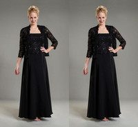 Wholesale 2015 Long Chiffon Mother Of Bridal Dresses With Jacket sleeves Beading A Line Black Color Cheap Price Made In China Formal Evening Dress
