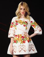 Painting Medium - Hot Sale HIGH QUALITY Fall Dolce Runway D Floral Medium Sleeve White Floral Painting Jacquard Print Evening Dress dress