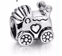 Cheap Baby Carriage with Love Heart European Floating Charm Beads 925 Sterling Silver, for DIY Bracelet Charms, 4Z919
