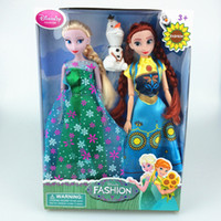 Wholesale Great Frozen Fever Toy Princess inches Elsa Anna doll and olaf cartoon snow world Action Figures Gifts for Children