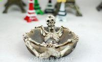 Wholesale Halloween skull resin ashtray creative head resin handicraft cm great halloween Retro gifts for friends