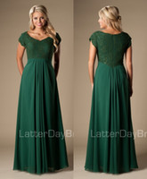 Wholesale Simple Forest Green Maxi Long A line Lace Chiffon Full Length Modest Bridesmaid Formal Dresses With Cap Sleeves Wedding Party Dresses Formal