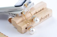 Wholesale 5pcs Cell Phone Accessories Phone Jewelry Big Pearl Rhinestone Dust Plug Mix Order Available