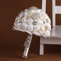 Cheap 2016 Wedding Bridal Bouquets with Handmade Flowers Peals Crystal Rhinestone Rose Wedding Supplies Bride Holding Brooch Bouquet