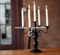 Wholesale Vintage European Arm Wedding Candelabra Classic Black White quot Iron Candle Holders Romantic Metal Home Decoration