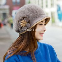 bailey flowers - Free shiping Lady Bailey rabbit ear hat winter warm hat upscale rabbit sweet lady flowers head cap
