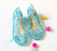 lolita shoes - 100pcs Frozen Girl Queen Elsa Princess Sandals Anime Cosplay Shoes Fashion Lolita Sweet Children s Shoes Wedge Cheap Hollow Crystal Shoes
