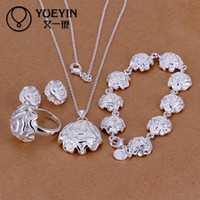 Wholesale S296 Highest quality sterling silver engagement flower jewelry collection of romantic jewelry sets