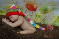 Wholesale New Style Baby Crochet Hat Children Knit Girls Boys Long tail Hat baby handmade crochet Beanie Hats