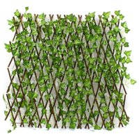 Wholesale Extension type Garden Fence Artificial Green Leaf Branch Bucolic Mula Net Wooden Home Restaurants Wall Decoration
