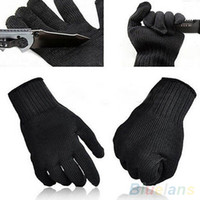 Wholesale 1 Pair Black Protect Stainless Steel Wire Safety Cut Metal Mesh Butcher Gloves V3B