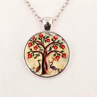 almond gifts - Smiling Moon Tree art Mod Orange charm Apple Summer Day tree Van Gogh Almond Branch moon pendant jewelry glass gemstone necklace