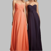 Wholesale Under Cheap Bridesmaid Dresses Real Image Chiffon Floor Length A Line Orange Long Prom Dress Zipper Back Sweetheart Bridesmaid Dress