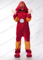Wholesale Hot Sale Superhero Iron Man Anime Cosplay Movie Costume Men Women Adult Onesie Pajamas Soft Fleece Pyjamas Jumpsuit Romper Sleepwear