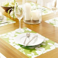 pvc printed placemats - Placemats European PVC insulation pad Plaid table mats Doily Bowl pad Coaster Western pad Random Color cm g H