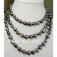 aa amazing - Amazing pearl necklace inch long necklace AA MM brown color Freshwater pearl necklace Fashion jewelry