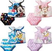 Cheap Pajamas For Kids Sets 2015 Summer Baby Clothes Boys Girls Cartoon Animal Mouse Duck Printed T-shirts Pants Briefs Underpants 4 Color I3860