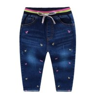 anchor embroidery - Sweety NEW spring Girls jeans Embroidery anchor cotton washed Knitted waist draw cord Soft jean pants Children kids jeans PP pant