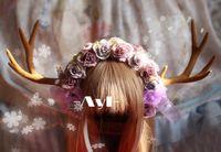big antlers - Original hand made lolita headdress Yosemite painting color big antlers headband kc