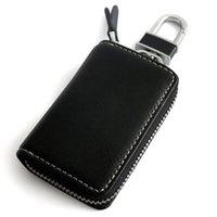 achat en gros de cuir de couverture clé audi-Alloy Keychain en cuir véritable Car Key Case Cover Holder Pour BENZ TOYOTA AUDI BMW Hyundai KIA Ford Honda Mazda Subaru voiture