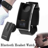 Wholesale Bluetooth V3 Headset Watch Detachable Sports in Ear Earphone Time Display Headphone Wristwatch for iPhone Samsung Cell phones