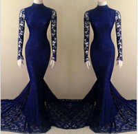 Wholesale Royal Blue Lace Mermaid High Neck Long Sleeve Prom Dresses Evening Gowns Glamorous Celebrity Court Train Fall Winter Elegant Evening Dresses