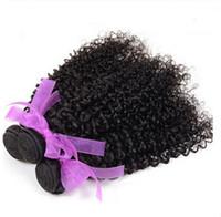bulk hair - 100 Human Hair Brazilian Curly Virgin Hair Weave Bundles Brazilian Kinky Curly Virgin Hair Extention Natural Black inch Hot Sale G0082