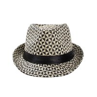 Wholesale Popular straw top hats with triangle pattern Jazz hats for men and women summer beach caps