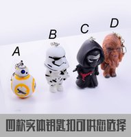 Wholesale Star Wars Keychain Keyring The Force Awakens BB Robot Kelo Chewbacca Pendant Action Figure PVC Keychains Key Rings head rotating