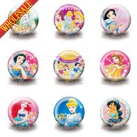 Wholesale Novely beautiful Princesses Cute Round Badges Buttons Pin Brooch Badges MM Diameter Sweet Gifts For Kids Best Gifts