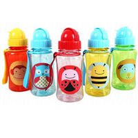 Wholesale Baby Straw Bottle Cups For Kids Baby Cartoon Animal Straw Cup BPA FREE NO Phthalate Non toxic Sports Cartoon Water Bottle BB0046