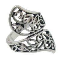 2015 Banda de la vendimia antigüedad del anillo de la joyería de plata ahueca hacia fuera la cuerda de anillo de la forma de los anillos de la aleación del cinc de la joyería anillos de plata antiguos para las mujeres AS012