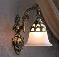 antique glass lamp shade - wall sconce Indoor Wall lamps Mediterranean Antique bronze Wall Lighting frosted glass shade E26or E27 lampholder