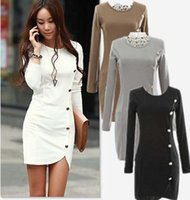 Wholesale 2015 Winter warm dress Women Cotton Bottomed Winter Dress Ladies Evening Clothes Party gown Long Sleeve Button Casual Women Dress DHL Free