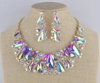 aurora necklace - Aurora glass statement jewelry sets bridal Necklace earrings set rhinestone crystal AB triangle shape for women s wedding party