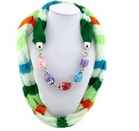bead scarf necklace - 2015 Christmas Scarf Fashion Dark Grain Beads Women Pendant Scarf Necklace Voile Fabric Scarf colors